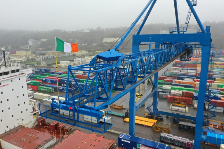 Containers at the Tivoli Container Terminal, Cork from where 'feeder' services link the UK in addition to mainland Europe