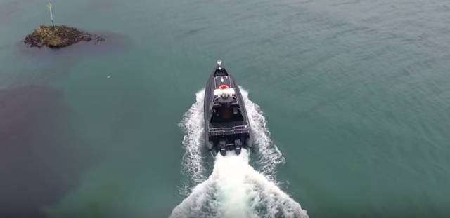 The new 12m Red Bay RIB is launched from Cushendall Pier on a sea trial. Scroll down for video.