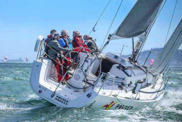 The spirit of Dublin Bay – the J/109 Powder Monkey sailed by current DBSC Commodore (and former NYC Commodore) Chris Moore. The J/109s will have some of the closest racing in today's National Yacht Club Regatta