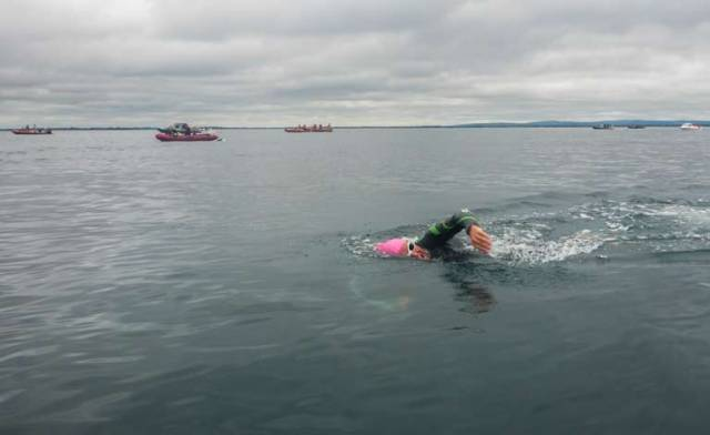 Open water sea swimmer Brian Coll at the start of last year's Galway Bay swim