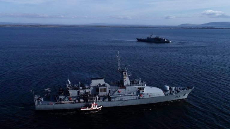 Having arrived on St Patrick's Day, LÉ William Butler Yeats (foreground) departed the Port of Galway yesterday and met in Galway Bay replacement offshore patrol vessel, LÉ James Joyce which took over helping the HSE in conducting Covid-19 testing at the mid-west harbour.