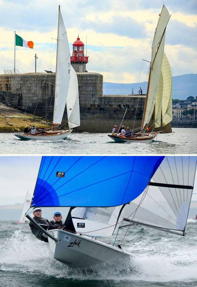 (Top) The essence of summer sailing for the Volvo Dun Laoghaire Regatta, which also celebrated the Bicentenary of the Harbour. The classic restored Dublin Bay 24 Periwinkle (Chris Craig and David Espey) and the likewise restored 1897-vintage 37ft Myfanwy (Rob Mason) racing neck and neck towards the in-harbour finish. Photo: David O'Brien/Afloat.ie (Above) Another side of 2017's sailing. 2016 All-Ireland Champion Helm Alex Barry of Monkstown Bay SC revelling in brisk conditions at the Royal Cork's successful Dinghyfest 2017. Event organizer Nin O'Leary had put in such good work beforehand that he was able to take a day out to go to England and win the huge-fleet Round the Island Race. Photo: Robert Bateman