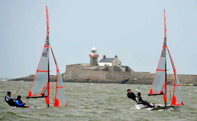 29ers dinghies racing off Fenit lighthouse on  Tralee Bay