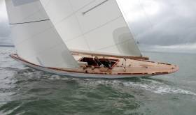 Alison Clarke sailing the 8m classic yacht Falcon, back in her days with Fairlie Yachts in Hamble