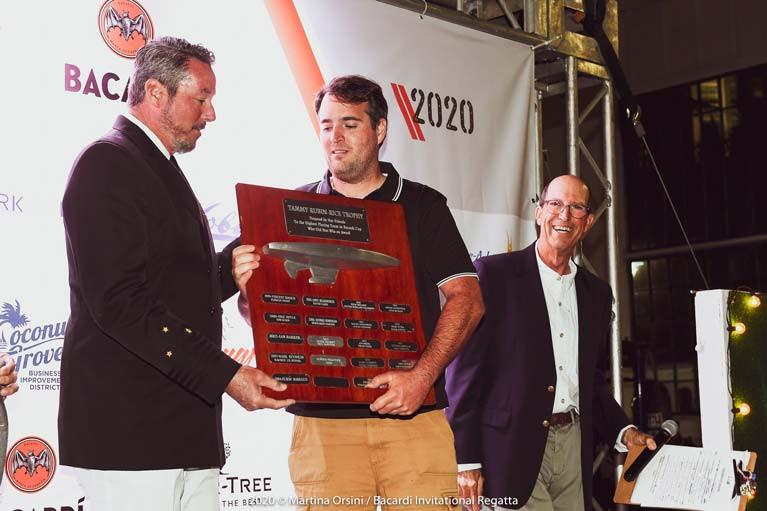 Robert O'Leary with the  The Tammy Rubin-Rice Trophy awarded to the highest placing team in Bacardi Cup who did not win an award.