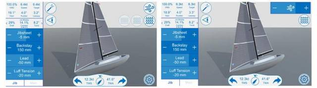 North Sails Sail Trim Simulator: In both screens, the J/35 is sailing at a little over 12 knots. In the upper right-hand corner, you have adjustments for wind speed and sea-state