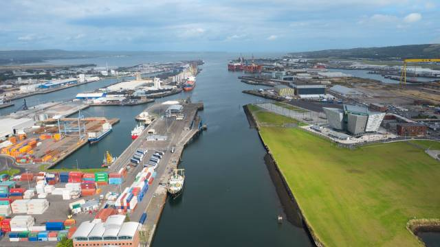 The port estate of Belfast Harbour from where the IOMSPCo are to remain operating ferry services connecting the Isle of Man
