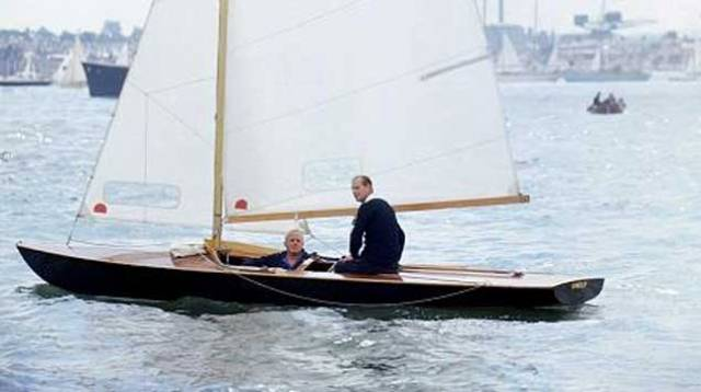 HRH The Duke of Edinburgh sailing Coweslip with Uffa Fox