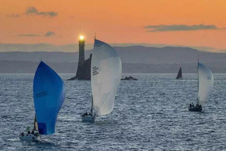 Sailors rounding Fastnet Rock