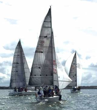 The Shannon Estuary in the perfect mood for racing – WIORA Class 1 IRC competitors Jaguar (left, J/92 S, Gary Fort, Tralee Bay SC), with overall runner up Stonehaven Racing (foreground, Corby 25, Glynn/Griffin/Callanan, Royal Western of Ireland YC), chasing the J/109 Joie de Vie (Glen Cahill, Galway Bay SC)