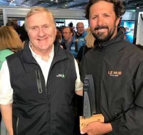 Irish Sailing President Jack Roy (left) with Figaro Leg one winner Yoann Richmonne in Kinsale