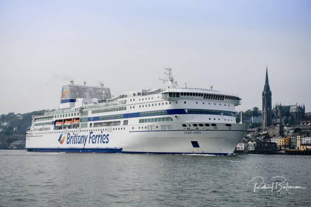 A fresh new look for Brittany Ferries flagship Pont-Aven as seen off Cobh during a departure from Ringaskiddy on the Cork-Roscoff route. The resumption of the service comes in a season that no longer includes rivals Irish Ferries Rosslare based routes to France, though Stena Line continue to operate to Cherbourg.