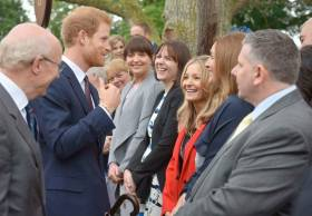 Larne RNLI volunteer crew member Fiona Kirkpatrick and fundraiser Alison Ford-Hutchinson meet Prince Harry