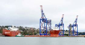 The first of three giant cranes is loaded onto the heavy lift vessel Albatross at Cobh on Wednesday 22 February