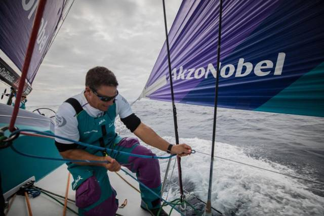 Justin Ferris in action on board Team AkzoNobel on Saturday 10 February