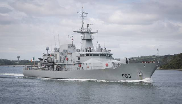 A twinning ceremony for LÉ William Butler Yeats is to take place this weekend in the City of Galway. Afloat adds the newest OPV P60 class vessel in service, is seen above underway departing Cork Harbour. A newbuild sister, LE George Bernard Shaw is scheduled for sea trials this month.