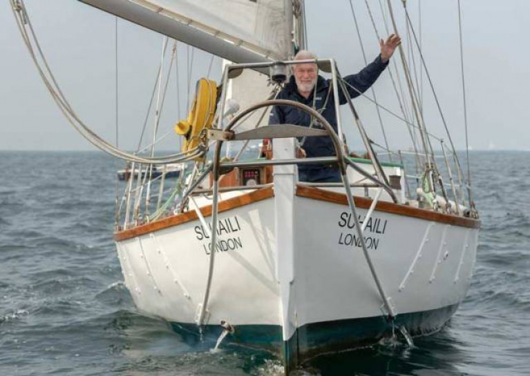 Sir Robin Knox-Johnston in April 2019 recreating his arrival in Falmouth 50 years to the date he completed the Golden Globe Race