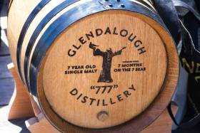 The barrel of Glendalough 7-year-old 777 single malt Irish whiskey onboard Gregor McGuckin's abandoned yacht in the Indian Ocean