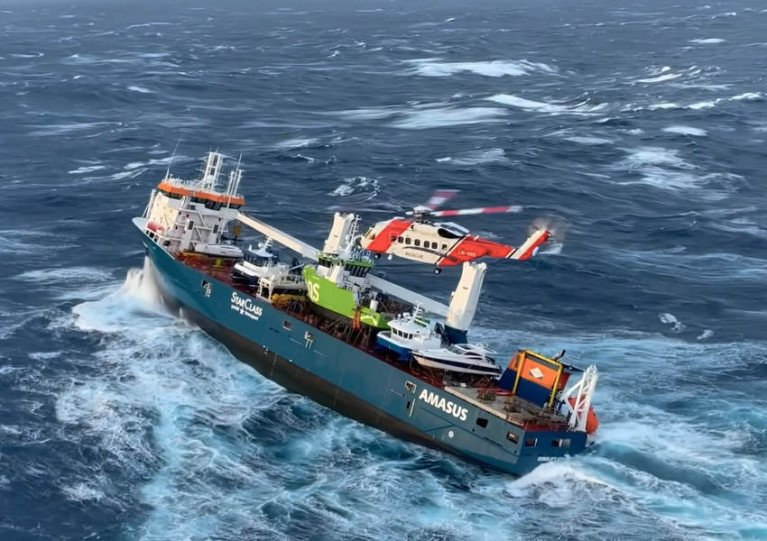 Ship With Cargo of Boats Adrift Off Norwegian Coast