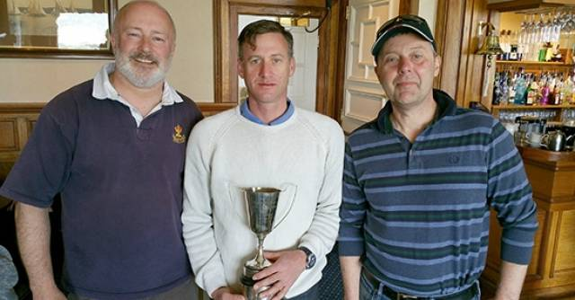 Fireball Ulster Winners – Event director Fenton Parsons (left) with Noel Butler and Stephen Oram