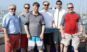 Dave Barry's Lia crew Gareth Nolan, Sam Hunt & Rory Groves were third in Howth's Sportsboat Cup and overall winners of the SB20 Easterns at the same venue