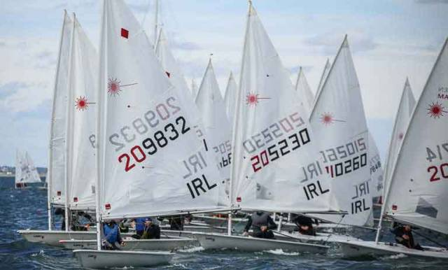 The Irish Laser class mustered a 116–boat fleet in three divisions for its Ulster Championships