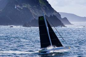 Lloyd Thornburg's Phaedo 3 at the Blaskets during the recent Round Ireland Record, which was celebrated at the National Yacht Club on Friday night. Today, Phaedo 3 rounded the equally rocky Ouessant off the west coast of Brittany, on her way to line honours in the new 400-mile RORC Cowes-Wolf Rock-Ouessant-St Malo Race.