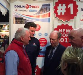 Minister of Transport, Shane Ross at the Doolin Ferry Co. stand at the Holiday World Show, Dublin. The Clare based company is to introduce a 200-passenger ferry and operate the fastest ever crossing time on an Aran Islands route from April.