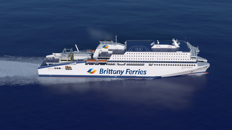 CGI image: The constract for Brittany Ferries newbuild LNG powered cruiseferry Honfleur has been confirmed as cancelled with the same German shipyard that ICG (owners of Irish Ferries) recently cancelled an order from for a second newbuild ferry based on the design of W.B. Yeats.