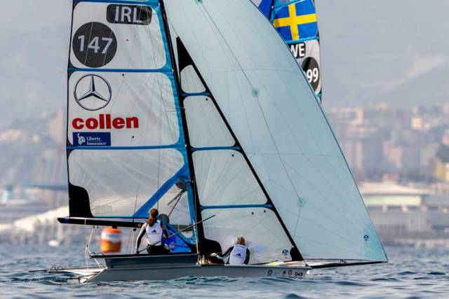 Annalise Murphy sailing with Katie Tingle in the 49erX at the Genoa World Cup