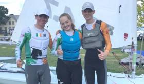 (from left) Evan Dargan Hayes, Alana Coakley and Hugh-O'Connor at the Laser 4.7 Worlds in Canada