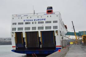 Stena concerned that the marina development will interfere with operations of Fishguard Harbour and their ferry operations. Above: Rosslare route ferry, Stena Europe berthed at the south Wales port on the Pembrokeshire coast.