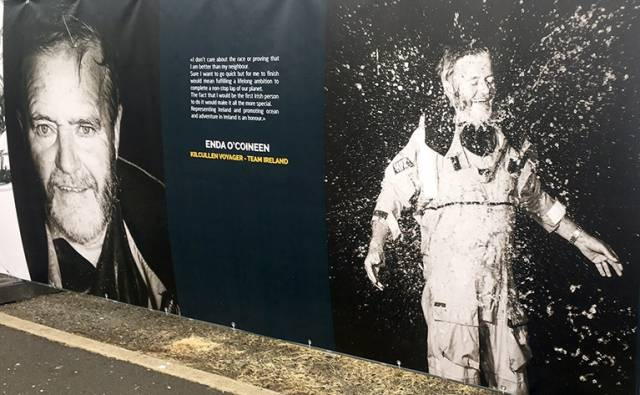 Enda O'Coineen, Ireland's first Vendee Globe competitor appears on a bill board at the race village