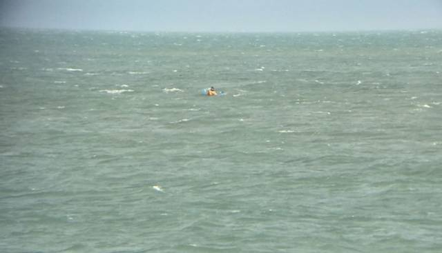 The lone kayaker spotted by a concerned onlooker off Howth on Wednesday morning 28 September