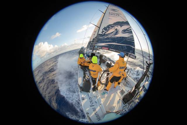 A fish-eye view on board Turn The Tide on Plastic sailing down the coast of Brazil yesterday