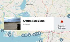 A screenshot from Beaches.ie showing the restriction in place at Galway's Grattan Beach