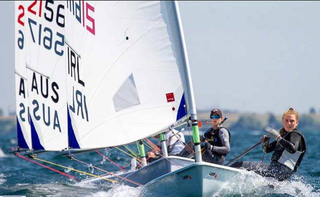 Howth Yacht Club's Eve McMahon competing in Kingston