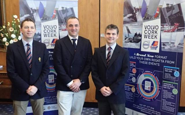 Cork Week UK launch L-R Gavin Deane General Manager of the Royal Cork Yacht Club. Volvo Cork Week Event Chairman Kieran O'Connell, Director of Racing, Rosscoe Deasy