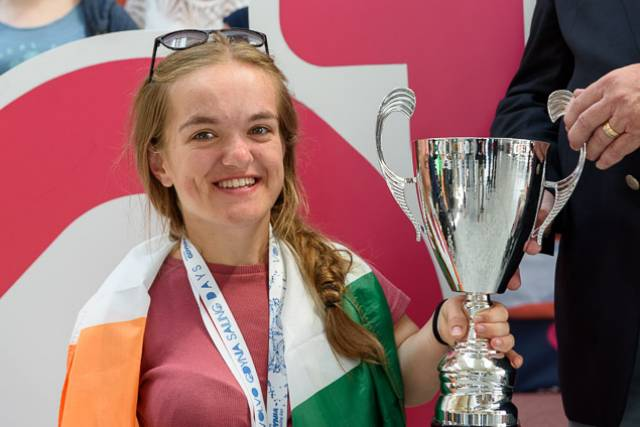 European Medals Winner Gina Griffin from Kinsale Yacht Club. Scroll down for homecoming gallery below