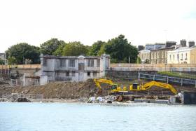 Work at Dun Laoghaire baths site continues on Dublin Bay. Architects say it will not only provide a connection between the People's Park (immediately behind the building above), but will also link the town of Dún Laoghaire with its seafront. Overall, the project aims to breathe new life into the seafront