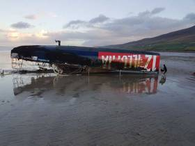 Washed up on Brandon Bay – Michele Zambelli's Class 950 OSTAR entry Illumina 12 has been washed up on a County Kerry beach