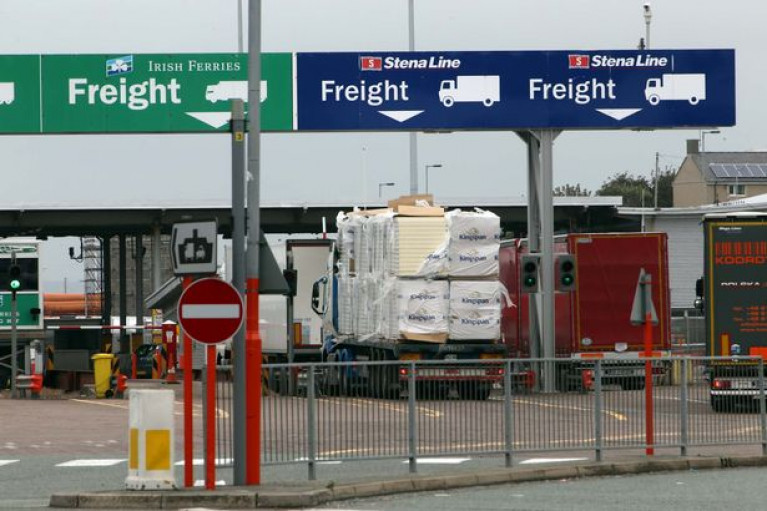 Holyhead carries 1,200 lorries and trailers a day across the Irish Sea. Above freight booths at the north Wales port.