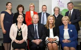 L_R Back row Roisin Moore, Monaghan County Council, Dawn Livingstone Waterways Ireland, Sharon Keogan East Border Region, Andrew Grieve Department for Infrastructure (NI), Alderman Elizabeth Ingram Armagh Banbridge Craigavon Borough Council, Paul Clifford Monaghan County Council   Front Row Cathaoirleach Cathy Bennett, Minister Shane Ross, Gina McIntyre SEUPB and Minister Heather Humphreys