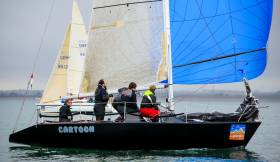 ICRA Class three champion, the all-black Quarter Tonner Cartoon, skippered by Sybil McCormack/Ken Lawless from the Royal Irish Yacht Club will be in action in Cowes tomorrow