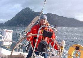 Maire Breathnach at the helm of the Swan 44 King of Hearts off Cape Horn in 2004 during the circuit of South America, when she was first awarded the Irish Cruising Club's Faulkner Cup