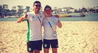 David O'Caoimh and Nicole Carroll at the ANOC World Beach Games