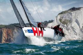 Andrew Williams' Ker 40 Dan, Israel (Keronimo) lead the fleet out of the Solent in the Round the Isle of Wight Race