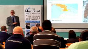 President of the Nautical Institute Captain David 'Duke' Snider speaking at the National Maritime College