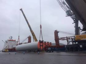 Unloading of wind turbines from BBC Orion berthed at Belview, Port of Waterford. Further such cargoes are scheduled throughout 2017.