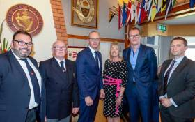 Colin Morehead, RCYC Vice Admiral and Chair of Cork 300, RCYC Admiral, Pat Farnan, An Tánaiste, Simon Coveney TD, Annamarie Fegan, Chair of Events & Communications, Patrick Coveney, CEO Greencore and Gavin Deane, RCYC General Manager)